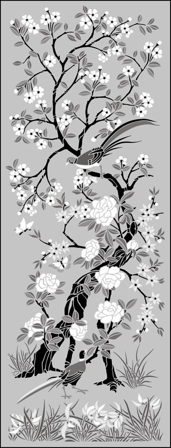 Panel No 1 stencil (HOLY CRAP this would be a lot of work, but it would be the chinoiserie look on a budget for sure)