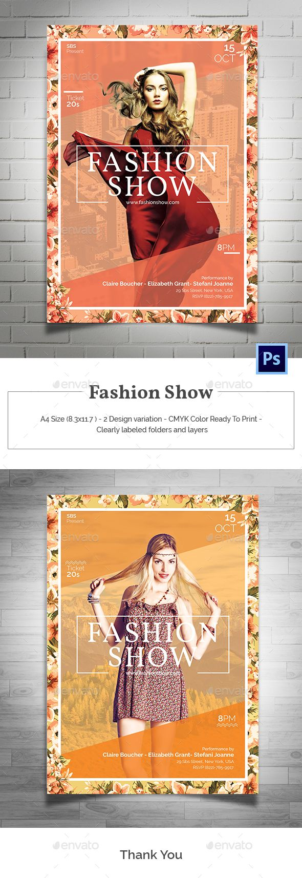 Fashion Show Flyer Template PSD. Download here: graphicriver.net/...