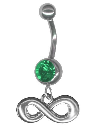 Infinity Belly Button Ring-Emerald Green Jeweled 14 gauge 3/8 Barbell Navel Ring Body Jewelry with Infinity Charm: Jewelry: Amazon.com