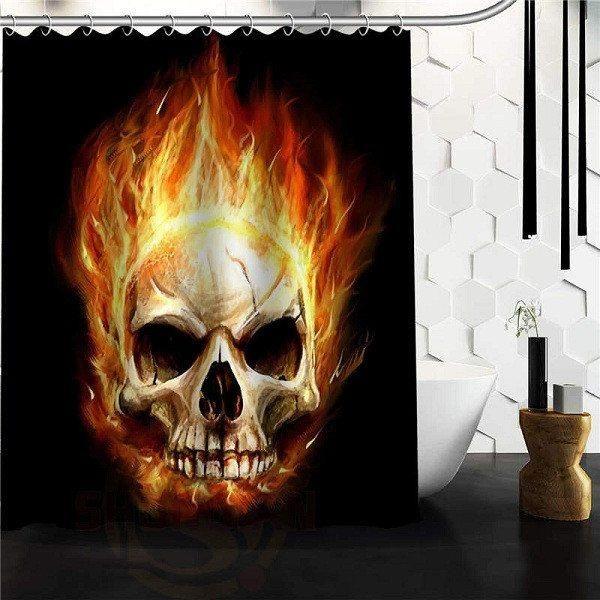 Flaming Skull And Bones Shower Curtain Skull Shower Curtain