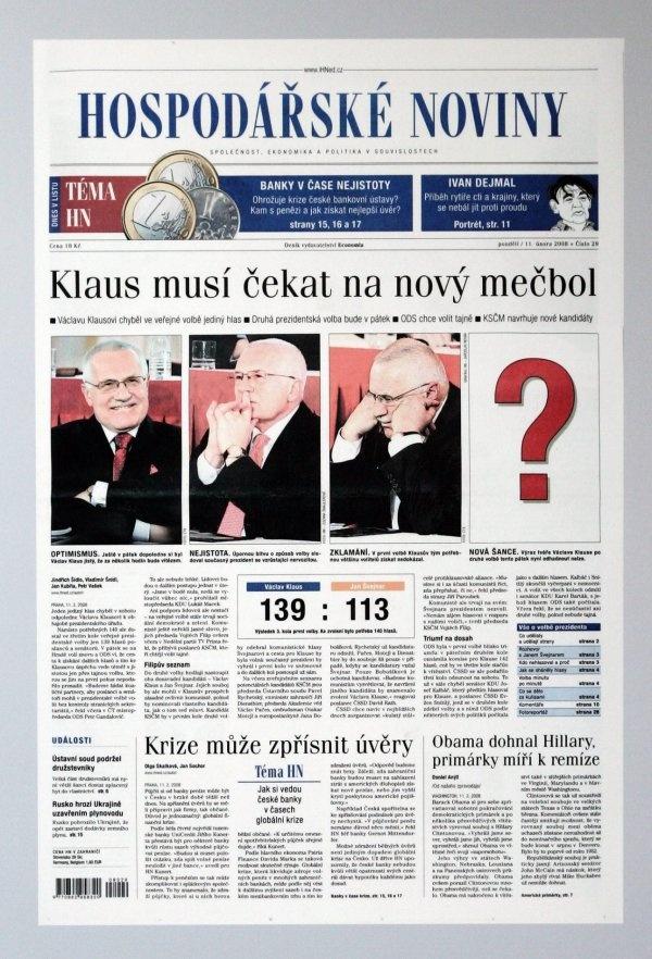 11.2.2008 - Václav Klaus v souboji o prezidentské křeslo s Janem Švejnarem