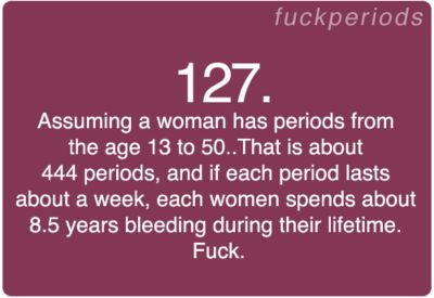 Period Problem #127.  Seriously periods suck