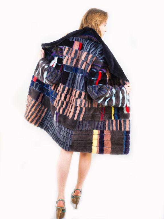 """Купить Шуба""""Очень модная"""" - в полоску, mexdizain, шуба, шубка, цветной мех, цветная шуба, орнамент"""