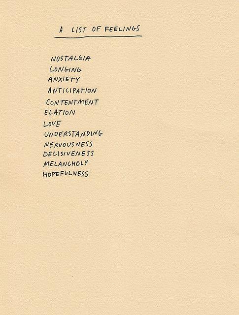 A list of feelings