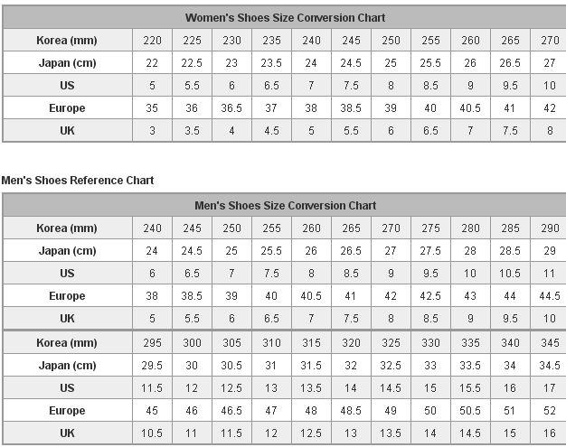 Таблица размеров японской и корейской обуви
