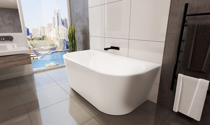 The Alegra Freestanding back-to-wall bath has beautiful curved edges, features a tile bead so it can be built into the wall or sit against the wall.