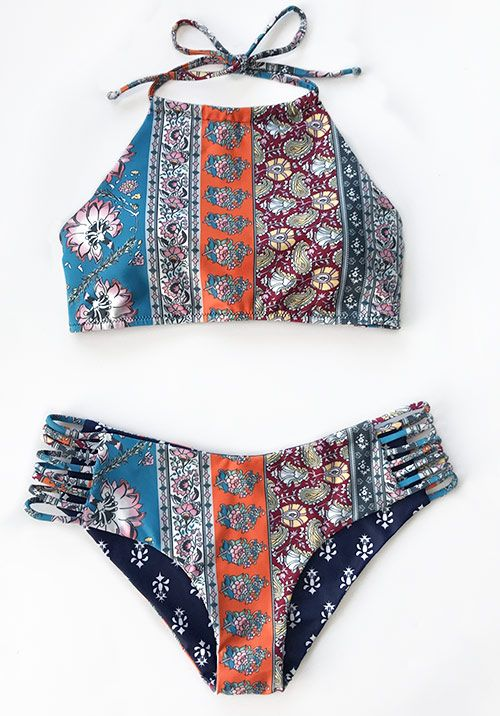 Awesome swimmers! $26.99 Only with free shipping! This ethnic printing tankini set is characterized by strappy&tie design! Beach Babe! You need such a swimsuit at Cupshe.com !