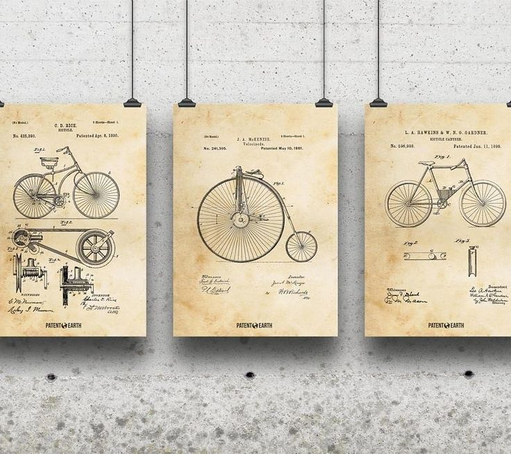 Need a gift for the cyclist in your life? This set of vintage bicycle designs should do nicely :) available now at PatentEarth.com!  #vintage #bicycle #art #prints #bike #wallart #cycling #gifts #decor #homedecor #posters #blackfriday #cybermonday