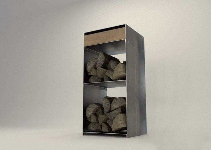 design metallmoebel kaminholzregal brennholz kaminholzaufbewahrung aus stahl holz eiche. Black Bedroom Furniture Sets. Home Design Ideas