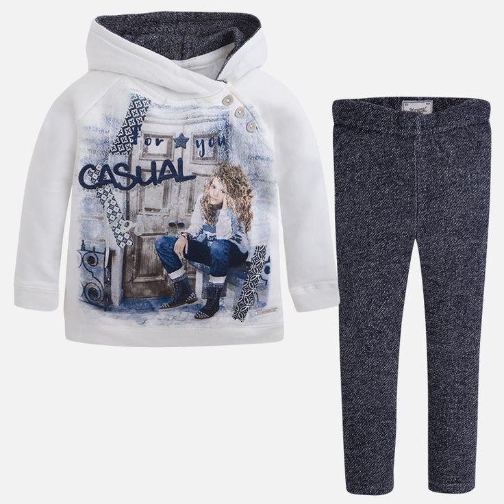 Mayoral Kız Kışlık Kapşonlu S-shirt Tayt Set Koyu Mavi