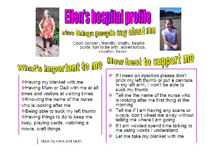 Ellen's one-page profile to support her in hospital. Read it in full here: http://onepageprofiles.files.wordpress.com/2013/11/64-ellens-one-page-profile-from-cath-barton.pdf