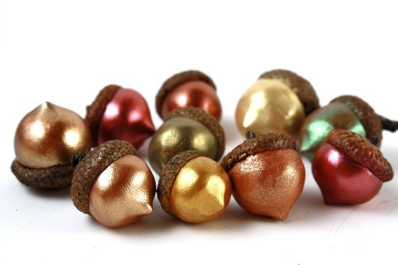 Love these metallic acorns. I wonder if you could use real acorns and metallic paint. I'm lookin' at you, @Shannon Sagona!