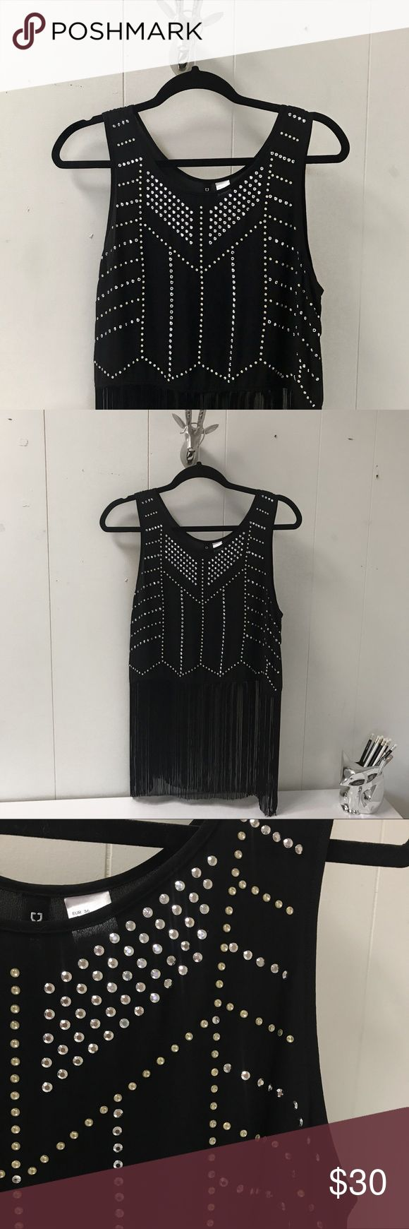 H&M Studded Fringe Tank Sheer tank with silver/gold studs and fringe. Never worn. Classic Coachella style. H&M Tops Tank Tops