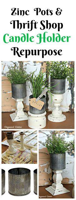 Thrift Shop Candle Holder Zinc Pot Planter www.organizedclutter.net