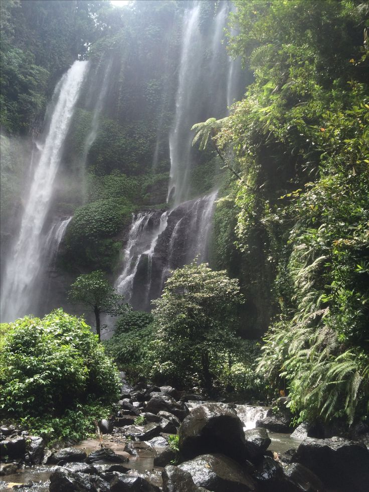 sekumpul waterfall Bali. beautiful waterfall which requires good fitness to reach down many flights of very steep steps