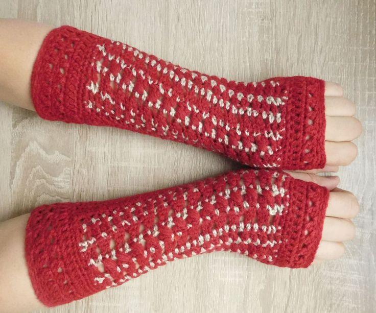 MADE TO ORDER 16097 Red-beige mittens Fingerless gloves red-beige Crocheted mittens Red-beige gloves by croshetN on Etsy