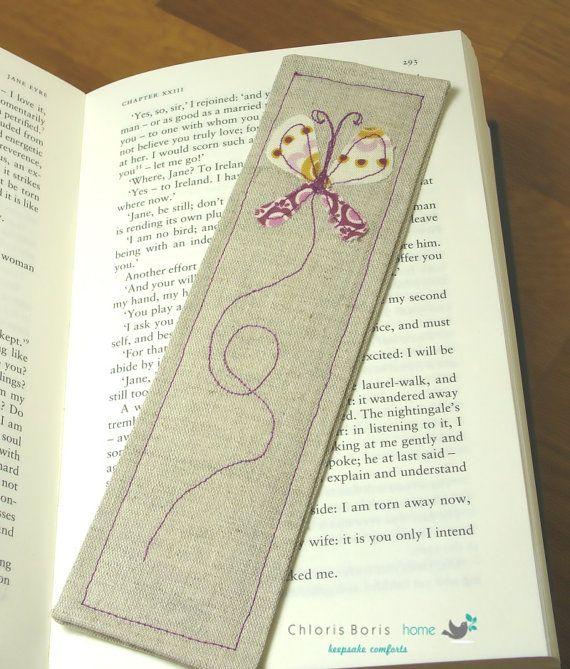 Bookmark linen applique bookmark book applique by ChlorisBoris, £3.50