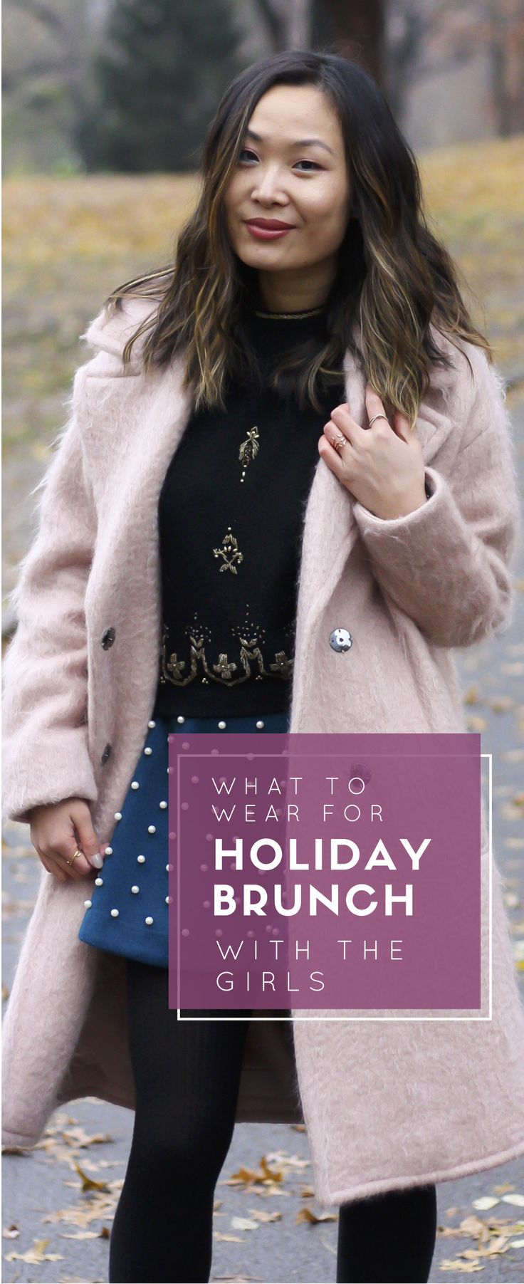 Holiday outfit ideas, what to wear to holiday brunch, pink wool coat, cozy winter outfit ideas. See the post on www.layersofchic.com