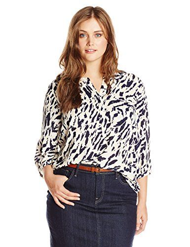 NYDJ Women's Plus-Size 3/4 Sleeve Solid Pleat Back Blouse