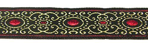 10m Brokat Borte Webband 16mm breit Farbe: Schwarz-Rot-Lurexgold von 1A-Kurzwaren 16805-swrtgo: Amazon.de: Küche & Haushalt