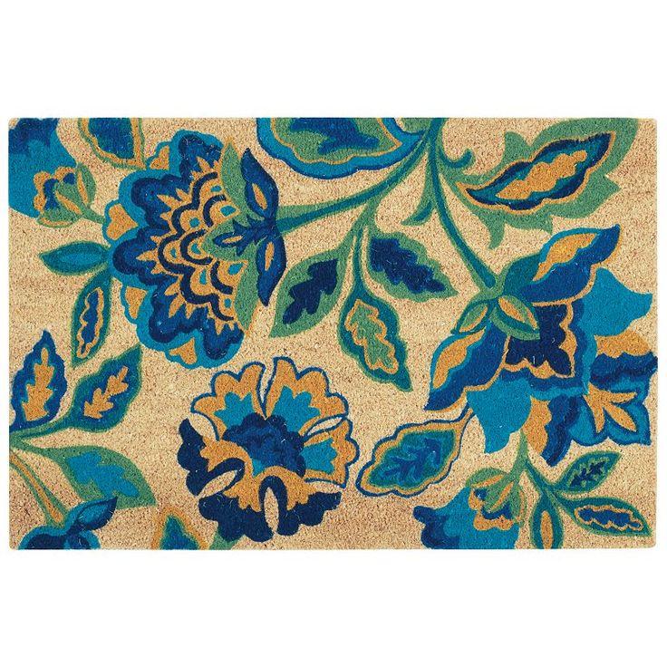 Waverly Greetings Katia Work Floral Coir Doormat, Turquoise/Blue (Turq/Aqua)