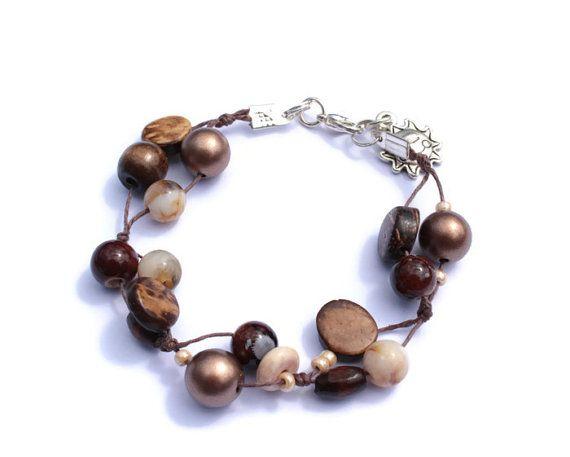 Brown Bracelet Hand Knot Bracelet Skinny Bracelet by PinkBeading, £8.00