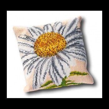 Mooi borduurpakket voor het borduren van een kussen met een margriet.