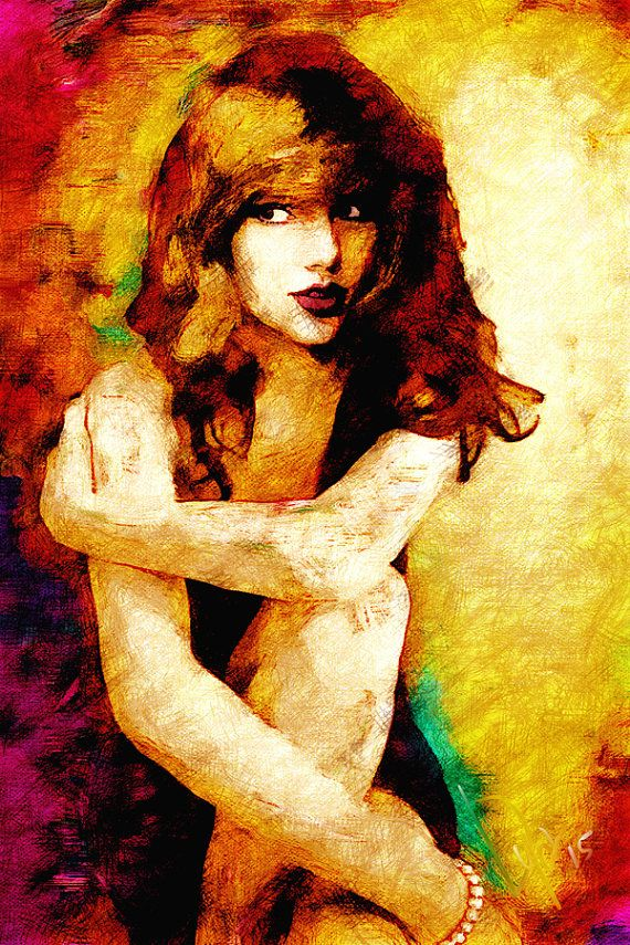 Taylor Swift Singer Painting Print Watercolor portrait  by VyaArt