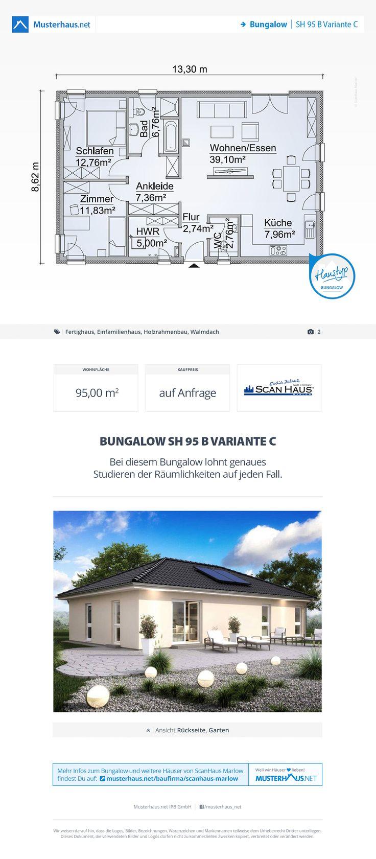 Bungalow, Grundriss, 95 m², Einfamilienhaus, Walmdach