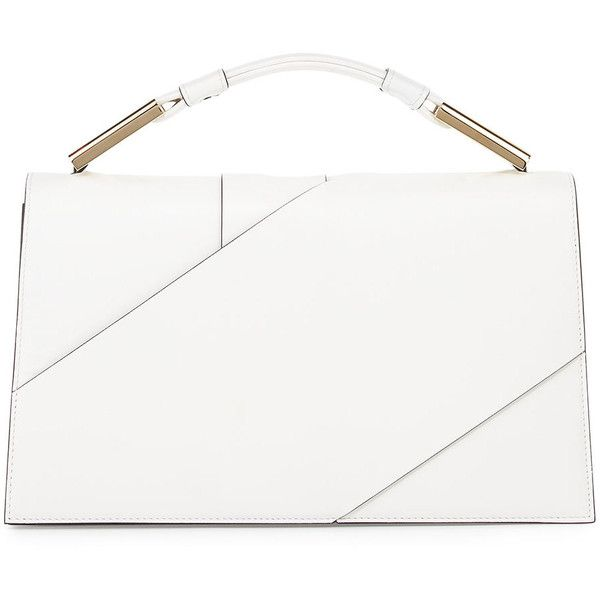 Jason Wu Charlotte Origami Leather Evening Clutch Bag (16.455 HRK) ❤ liked on Polyvore featuring bags, handbags, clutches, white, genuine leather purse, leather handbags, white leather handbags, special occasion handbags and real leather handbags
