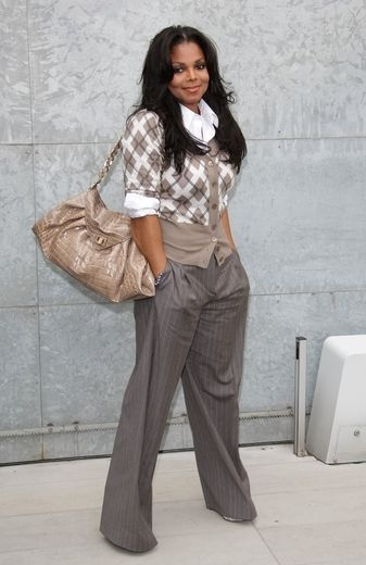 Janet Jackson Love this outfit gray tan argyle sweater gray pants