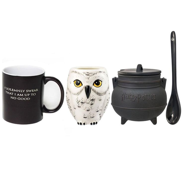 "Buy three fan-favorite Harry Potter mugs and save! This mug set is perfect for any muggle or a wizard and consist of our exclusive Mischief Managed transforming mug (add hot water and the text changes from ""I Solemnly Swear the I am up to No Good"" to Mischief Managed""), the Hedwig scultped mug, and the cauldron sculpted soup mug (complete with spoon and lid). This magical set will have you brewing up your favorite magical potions, concoctions, and elixirs, and when you're d..."