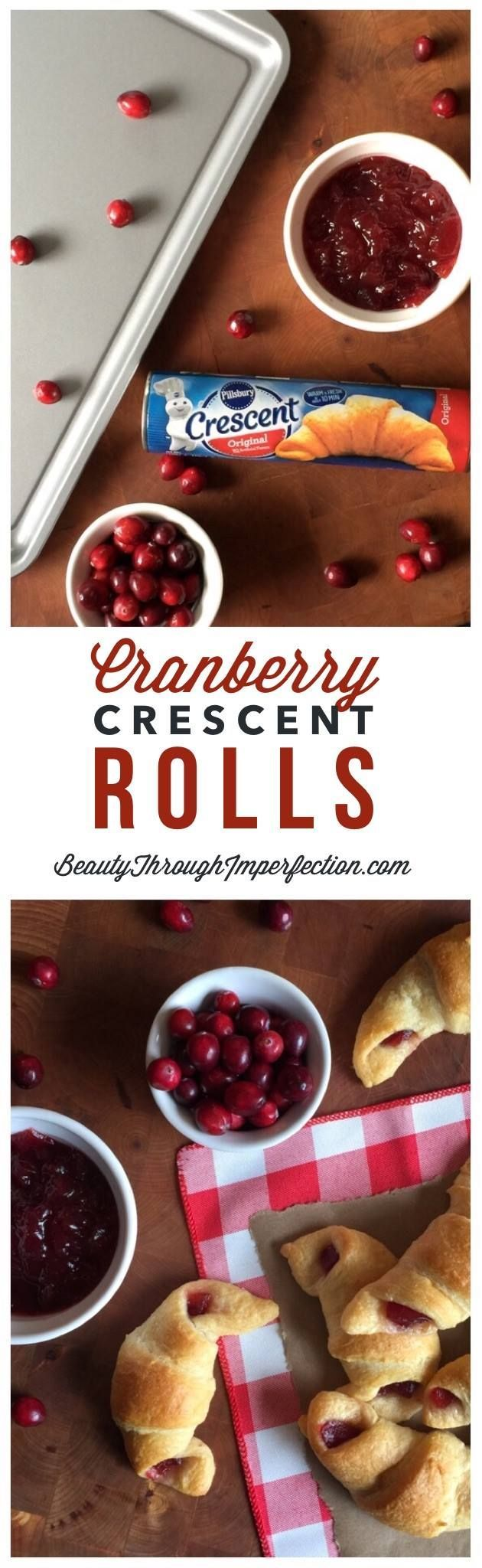 Cranberry Crescent Rolls - Great kid friendly Thanksgiving recipe or Christmas recipe. This is so easy even preschoolers can make it and always a crowd pleaser!