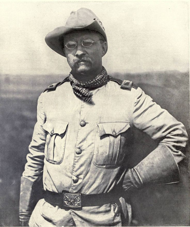 """Later President Theodore (Teddy) Roosevelt as a """"Rough Rider."""