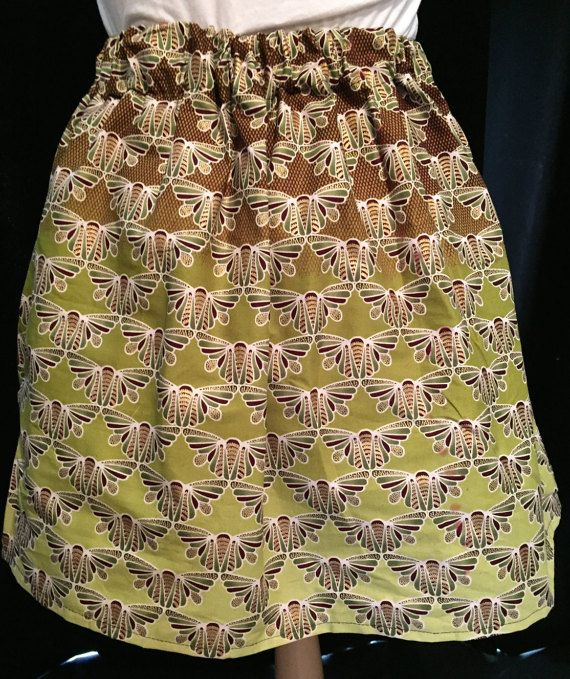 Green and Brown Moth Skirt African Cotton Wax Print by ChicNtoma