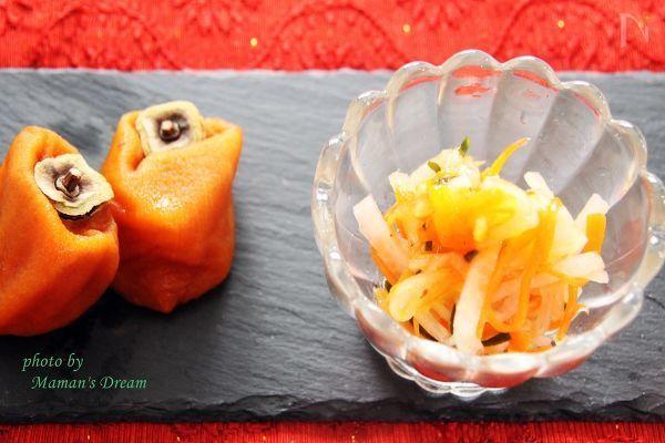 あんぽ柿を使って、甘味がちょうどよく、上等のなますです。