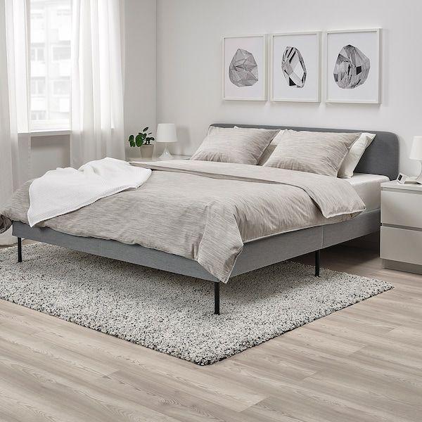 Slattum Knisa Light Grey Upholstered Bed Frame Standard Double Ikea Grey Upholstered Bed Upholstered Bed Frame Grey Bed Frame