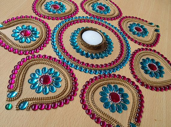 8 Pieces Beautiful Pink and Blue Rangoli for Diwali on Etsy, $32.00