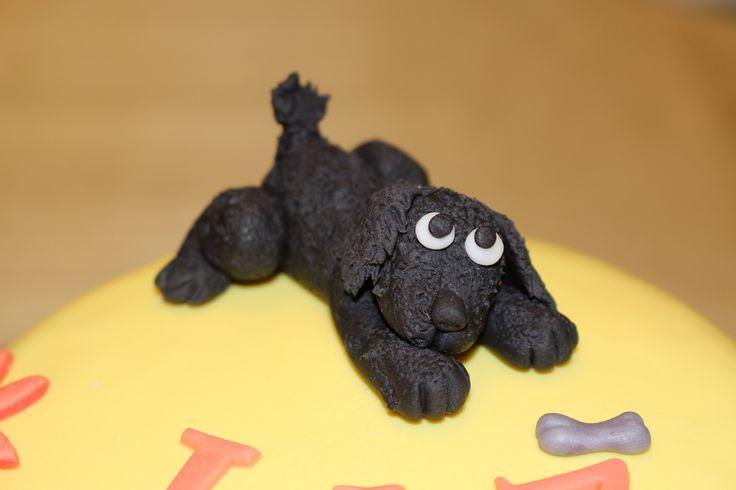 Little Black Dog and bone gumpaste cake topper -Cocoabai Cakes