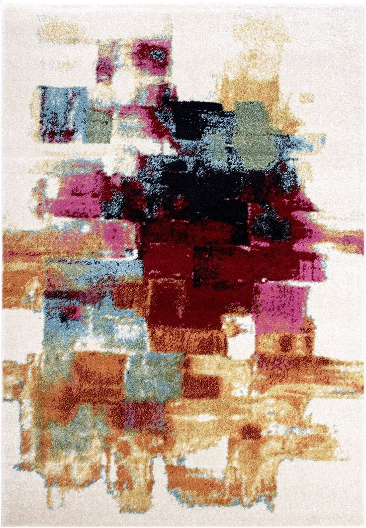 prime 201 903 ivory teppich carpet modern bunt styl rot gr n gelb pink grau weiss art kunst. Black Bedroom Furniture Sets. Home Design Ideas