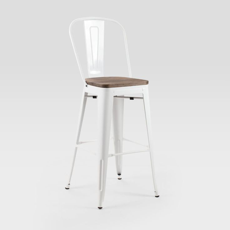 Industrial Metal Bar Stool.Wooden Seat.Features non-scratch rubber tips.Available Colours: Bronze, Black, Silver, White and Copper.Dimensions:465mm (W) x 480mm (D) x 1170mm (H)  | Seat Height: 770mm