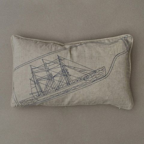 Ship in a bottle embroidered cushion