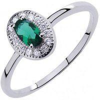 PR7122ZSS Strieborný prsteň so zeleným zirkónom