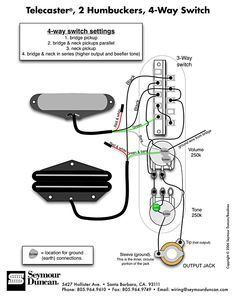Tele    Wiring       Diagram        2       Humbuckers     4Way Switch   Guitar