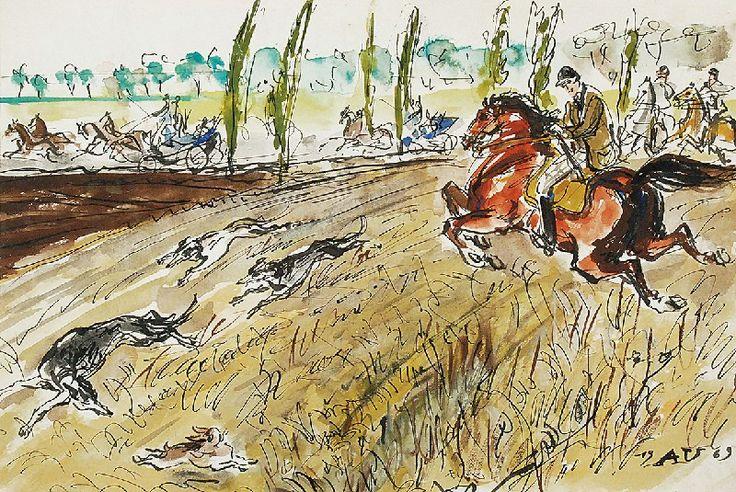Antoni UNIECHOWSKI (1903-1976)  Polowanie, 1969 piórko, tusz, akwarela, papier;  18 x 26,5 cm (w świetle oprawy); sygn. p. d.: 19AU69