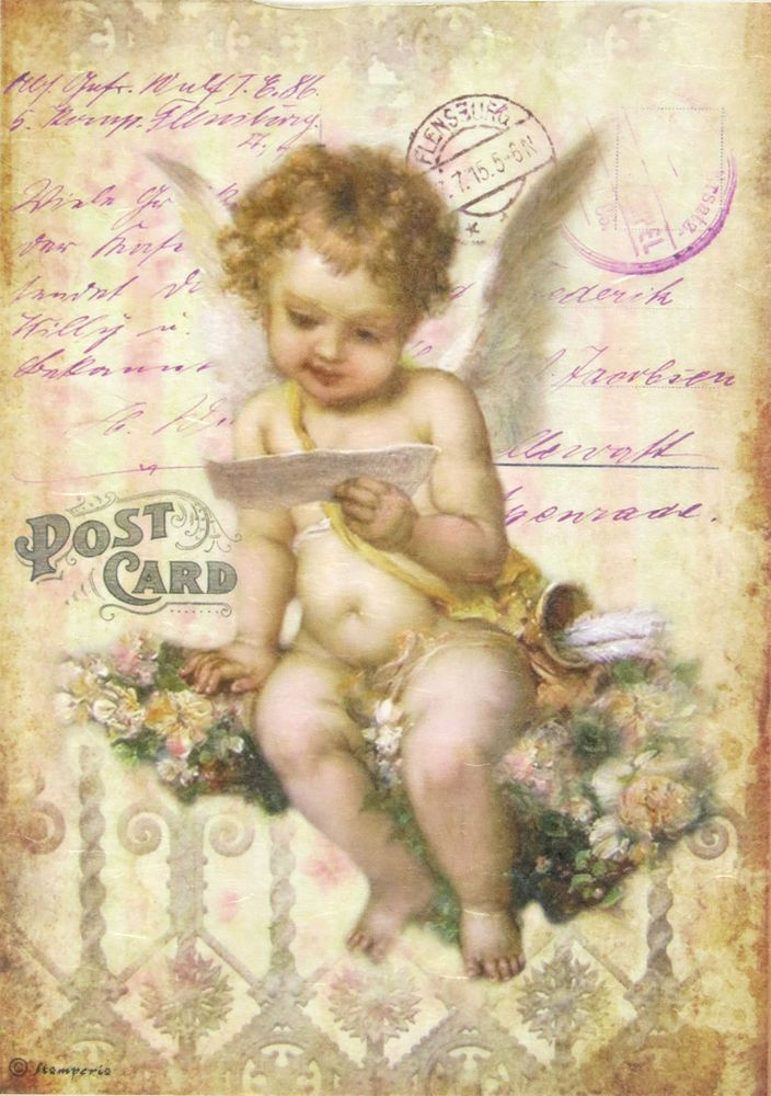 Ricepaper/ Decoupage paper, Scrapbooking Sheets /Craft Paper Angel on Flower #Decoupage