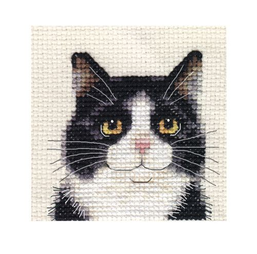 "Black White CAT Kitten Full Counted Cross Stitch KIT ALL Materials | eBay size: 2½"" x 2½"" / 6.5 x 6.5cm 14 count Zeigart aida fabric Pre-sorted Anchor embroidery threads Needle Easy to read b/w symbol chart and full sewing instructions The design isn't printed on the fabric N.B. Not recommended for children under 7 years of age http://www.ebay.com.au/itm/BLACK-WHITE-CAT-KITTEN-Full-counted-cross-stitch-kit-All-materials-/281034946459?pt=UK_Crafts_CrossStitch_RL=item416efcf79b"