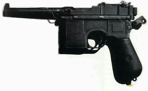 """The actual C96 Mauser used by Pyotr Ermakov in the killing of the Romanov family and their retinue at the basement of the Ipatiev House on 17/18 July 1918. """"AL"""""""
