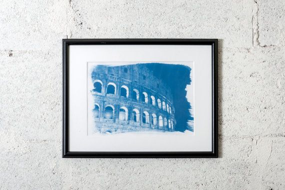 Colosseum in Rome (Italy), cyanotype print. #cyanotype #print #art #artdeco #walldeco #cottagedeco #rome  #italy  #madeinitaly