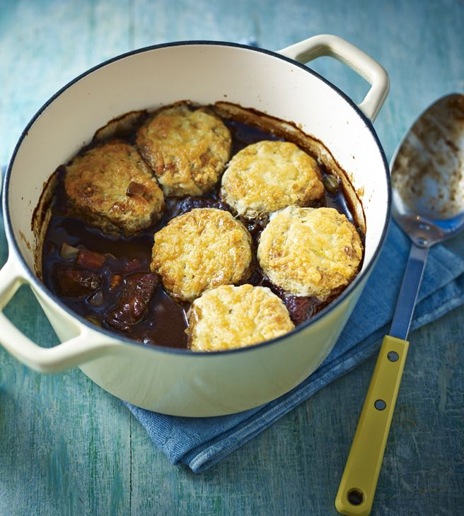 Tender beef stewed in red wine with a cheese scone topping